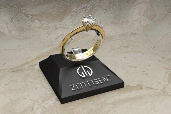 Solitär-Ring 6er Krappe mit Diamant in Gelbgold