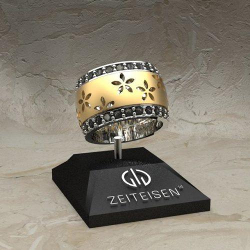 Bicolor-Ring aus Weiß- und Gelbgold mit schwarzen Diamanten