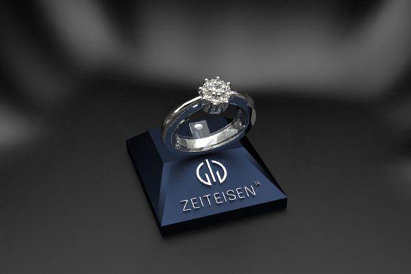 Verlobungsring aus Weißgold mit neun gefassten Diamanten