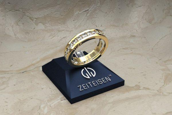 Memoire-Ring aus Gelbgold mit Diamanten