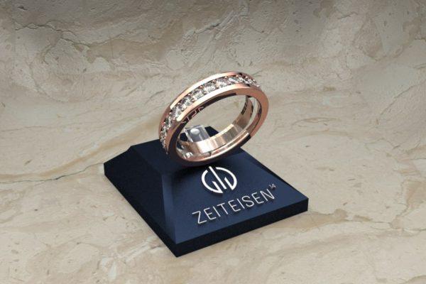 Memoire-Ring aus Rotgold mit Diamanten