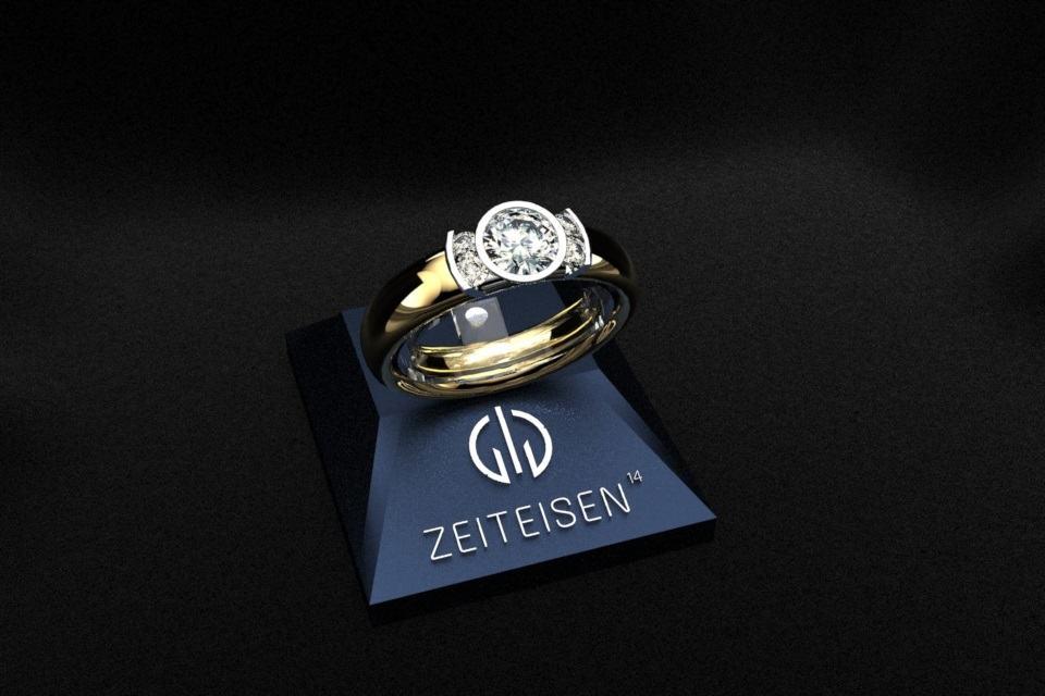 Ring mit einem 0.5 ct. Diamant und vier weiteren Diamanten aus Gelbgold