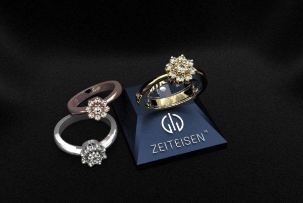 Verlobungsring mit neun gefassten Diamanten