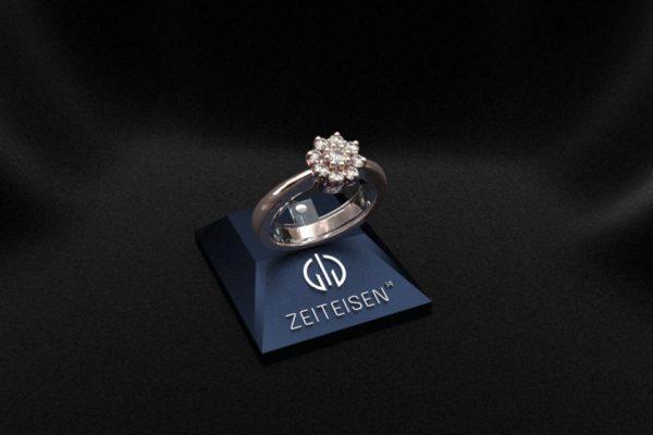 Verlobungsring aus Rotgold mit neun gefassten Diamanten